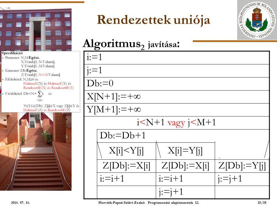 ELTE Rendezettek uniója i:=1 j:=1 Db:=0 X[N+1]:=+  Y[M+1]:=+  i<N+1 vagy j<M+1 Db:=Db+1 X[i]<Y[j]X[i]=Y[j]X[i]>Y[j] Z[Db]:=X[i] Z[Db]:=Y[j] i:=i+1 j:=j+1 Algoritmus 2 javítása : 15/35 2014.