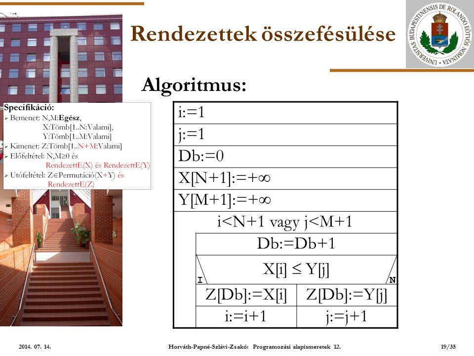 ELTE Rendezettek összefésülése i:=1 j:=1 Db:=0 X[N+1]:=+  Y[M+1]:=+  i<N+1 vagy j<M+1 Db:=Db+1 X[i]  Y[j] Z[Db]:=X[i]Z[Db]:=Y[j] i:=i+1j:=j+1 NI Algoritmus: 19/35 2014.