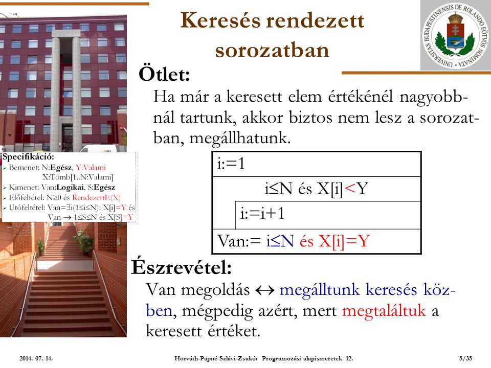 ELTE Keresés rendezett sorozatban Specifikáció:  Bemenet: N:Egész, Y:Valami X:Tömb[1..N:Valami]  Kimenet: Van:Logikai, S:Egész  Előfeltétel: N  0 és RendezettE(X)  Utófeltétel: Van=  i(1  i  N): X[i]=Y és Van  1  S  N és X[S]=Y Ötlet: Először a középső elemmel hasonlítsunk.