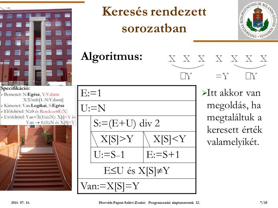 ELTE Rendezettek összefésülése  Utófeltétel: Z  Permutáció(X+Y) és RendezettE(Z) Ötlet: A megoldás olyan, mint az összefuttatás, csak az egyforma elemeket is berakjuk az eredménybe.