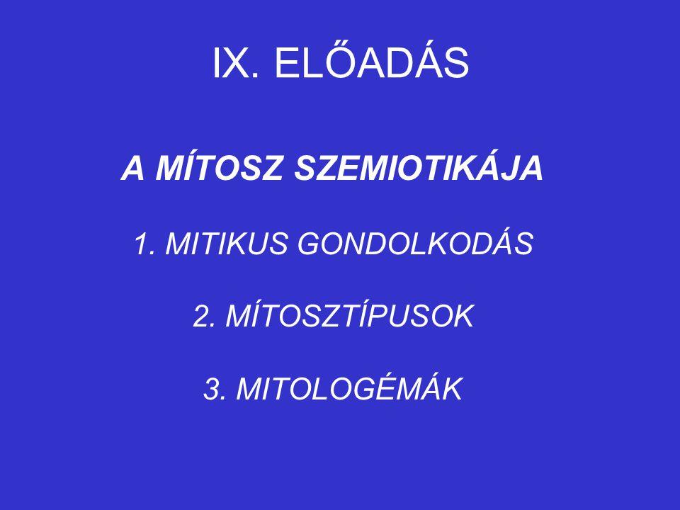 IX. ELŐADÁS A MÍTOSZ SZEMIOTIKÁJA 1. MITIKUS GONDOLKODÁS 2. MÍTOSZTÍPUSOK 3. MITOLOGÉMÁK