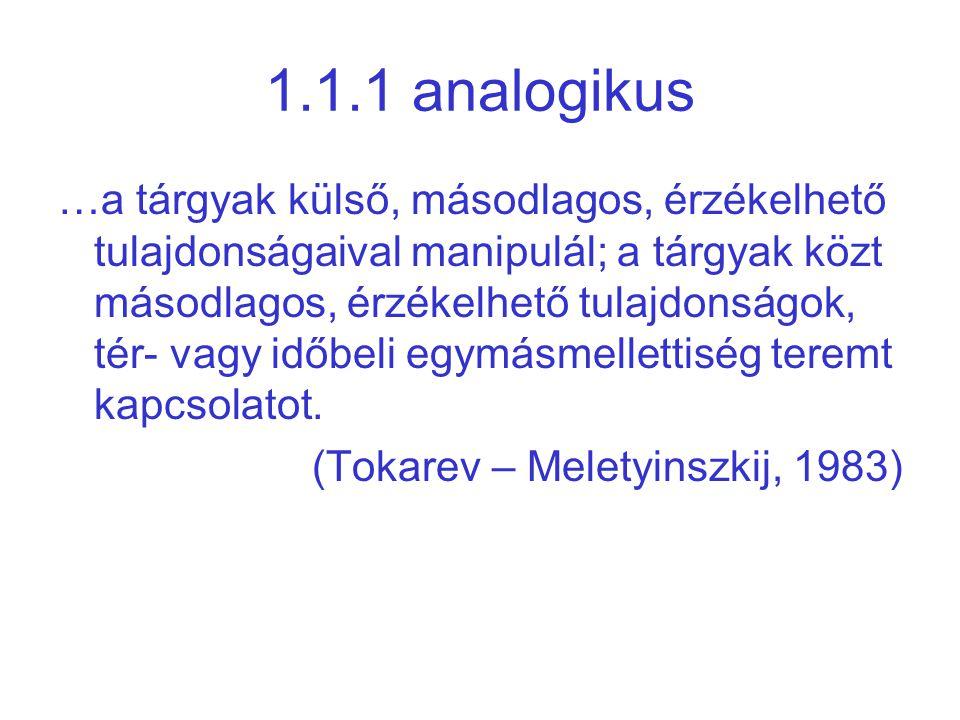 1.1.1 analogikus …a tárgyak külső, másodlagos, érzékelhető tulajdonságaival manipulál; a tárgyak közt másodlagos, érzékelhető tulajdonságok, tér- vagy