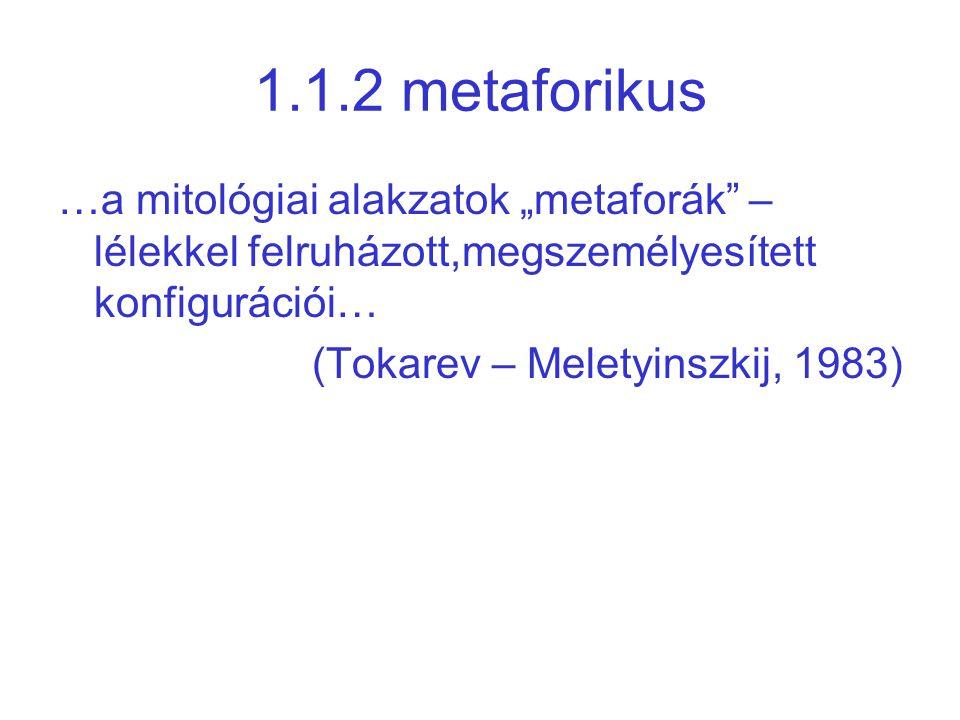 """1.1.2 metaforikus …a mitológiai alakzatok """"metaforák"""" – lélekkel felruházott,megszemélyesített konfigurációi… (Tokarev – Meletyinszkij, 1983)"""