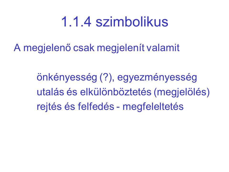 1.1.4 szimbolikus A megjelenő csak megjelenít valamit önkényesség (?), egyezményesség utalás és elkülönböztetés (megjelölés) rejtés és felfedés - megf