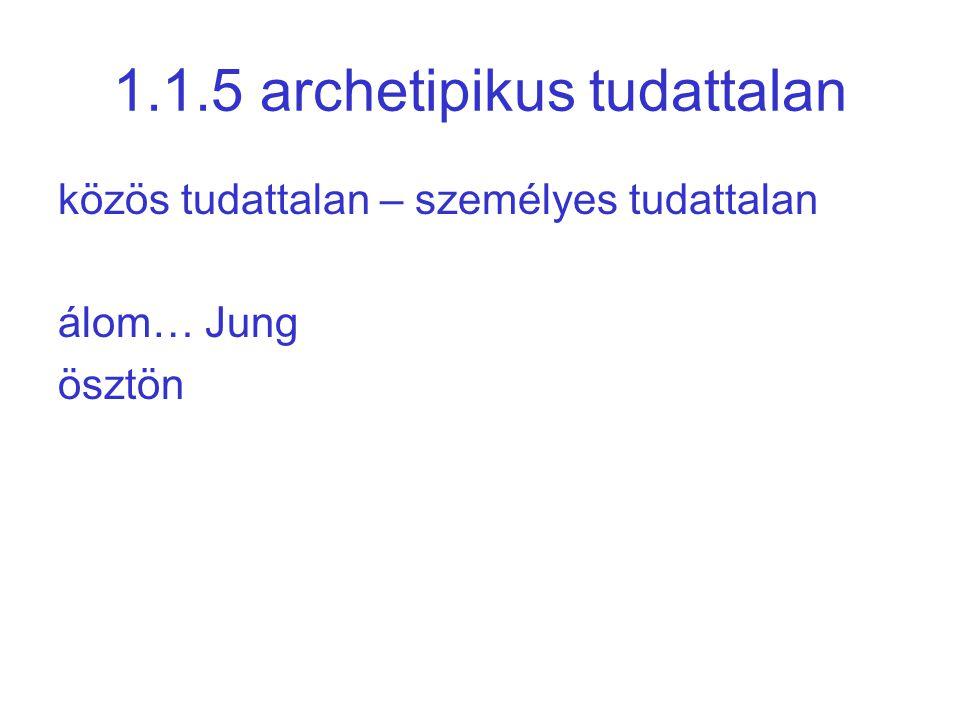 1.1.5 archetipikus tudattalan közös tudattalan – személyes tudattalan álom… Jung ösztön