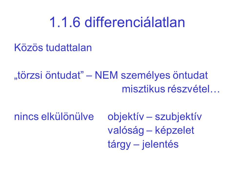 """1.1.6 differenciálatlan Közös tudattalan """"törzsi öntudat"""" – NEM személyes öntudat misztikus részvétel… nincs elkülönülve objektív – szubjektív valóság"""