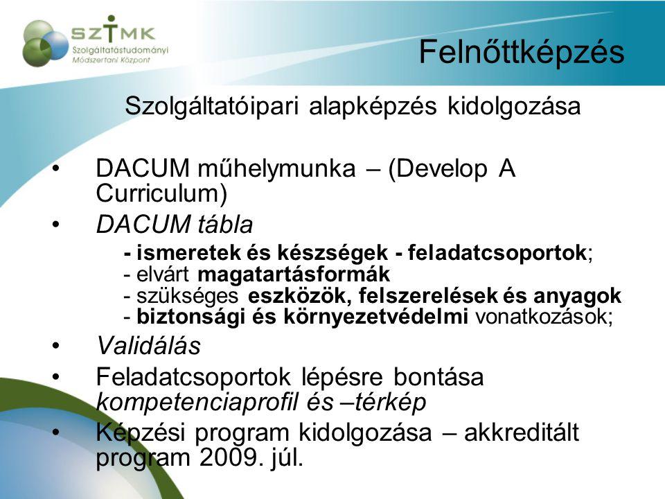 Felnőttképzés Szolgáltatóipari alapképzés kidolgozása DACUM műhelymunka – (Develop A Curriculum) DACUM tábla - ismeretek és készségek - feladatcsoportok; - elvárt magatartásformák - szükséges eszközök, felszerelések és anyagok - biztonsági és környezetvédelmi vonatkozások; Validálás Feladatcsoportok lépésre bontása kompetenciaprofil és –térkép Képzési program kidolgozása – akkreditált program 2009.