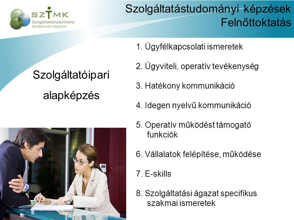 Szolgáltatástudományi képzések Felnőttoktatás 1. Ügyfélkapcsolati ismeretek 2.