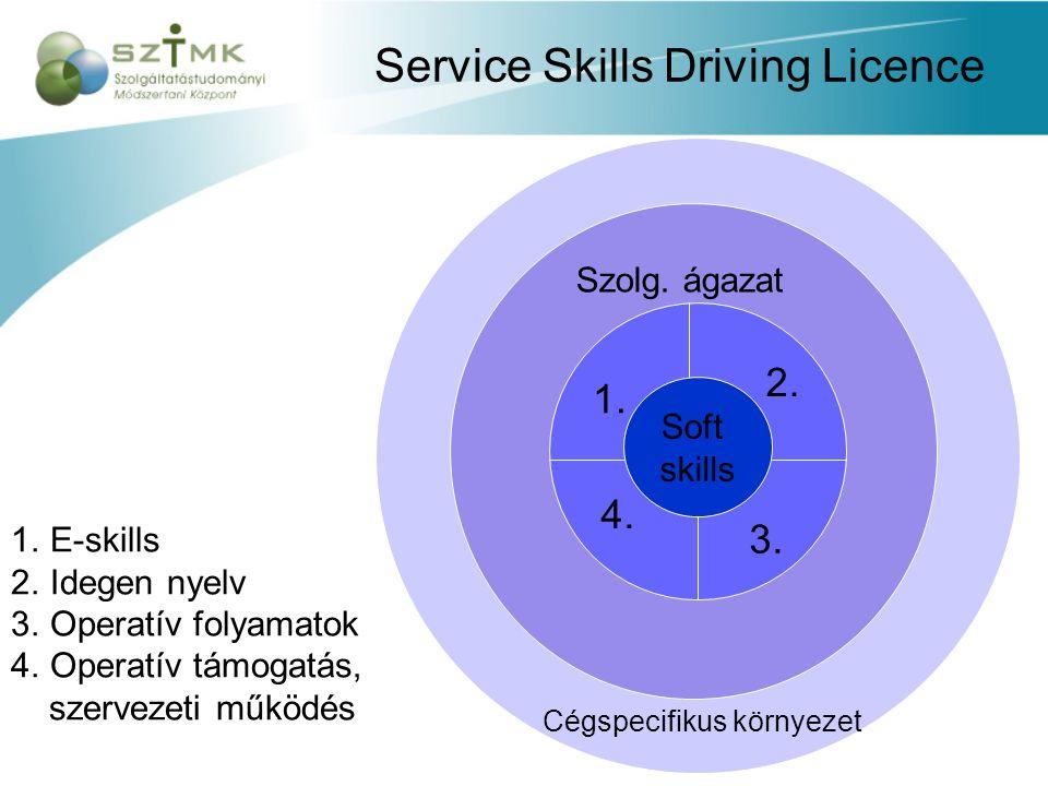 Service Skills Driving Licence Soft skills 1.E-skills 2.Idegen nyelv 3.Operatív folyamatok 4.Operatív támogatás, szervezeti működés 1.