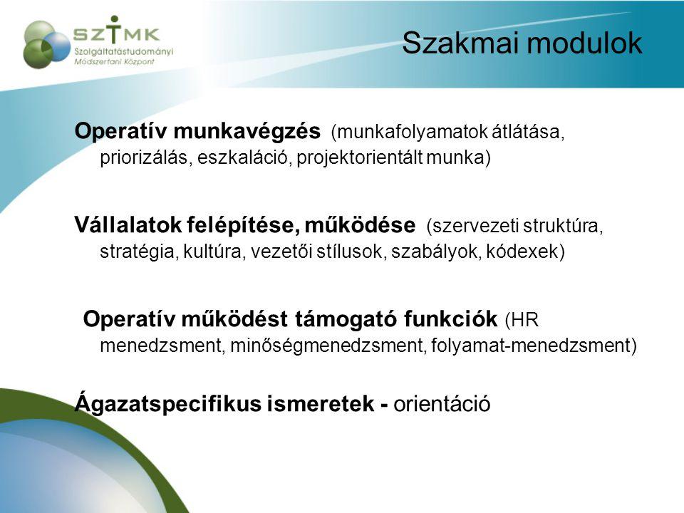 Szakmai modulok Operatív munkavégzés (munkafolyamatok átlátása, priorizálás, eszkaláció, projektorientált munka) Vállalatok felépítése, működése (szervezeti struktúra, stratégia, kultúra, vezetői stílusok, szabályok, kódexek) Operatív működést támogató funkciók (HR menedzsment, minőségmenedzsment, folyamat-menedzsment) Ágazatspecifikus ismeretek - orientáció