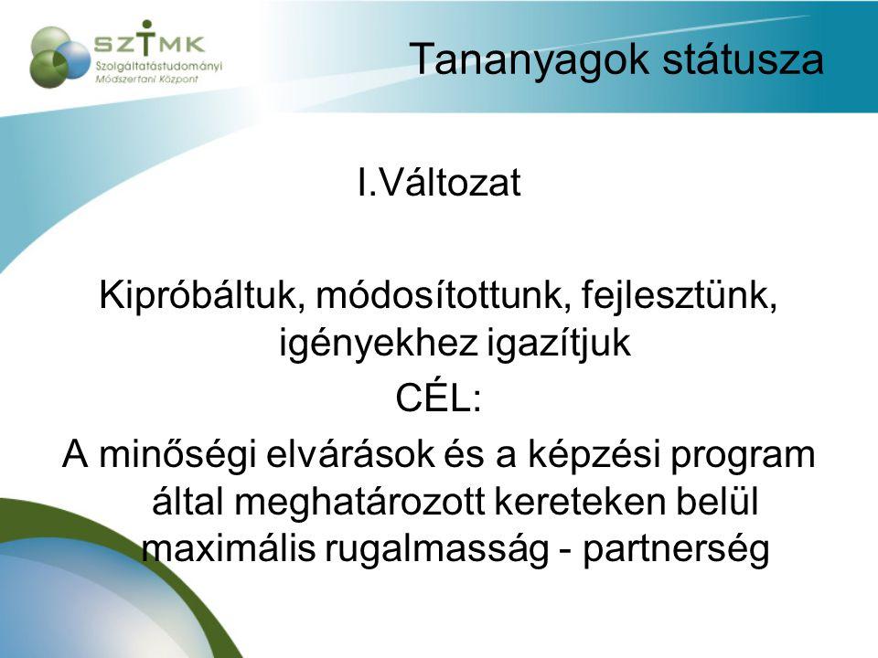 Tananyagok státusza I.Változat Kipróbáltuk, módosítottunk, fejlesztünk, igényekhez igazítjuk CÉL: A minőségi elvárások és a képzési program által meghatározott kereteken belül maximális rugalmasság - partnerség