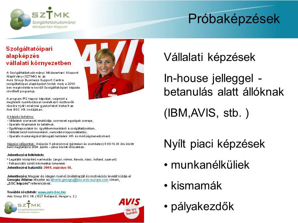 Próbaképzések Vállalati képzések In-house jelleggel - betanulás alatt állóknak (IBM,AVIS, stb.