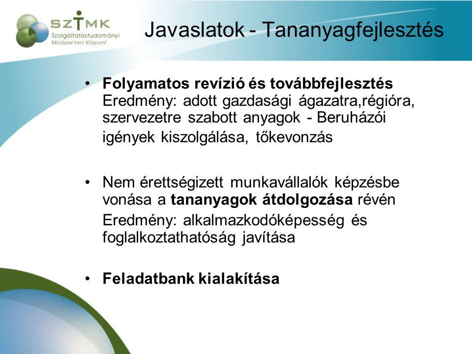 Javaslatok - Tananyagfejlesztés Folyamatos revízió és továbbfejlesztés Eredmény: adott gazdasági ágazatra,régióra, szervezetre szabott anyagok - Beruházói igények kiszolgálása, tőkevonzás Nem érettségizett munkavállalók képzésbe vonása a tananyagok átdolgozása révén Eredmény: alkalmazkodóképesség és foglalkoztathatóság javítása Feladatbank kialakítása