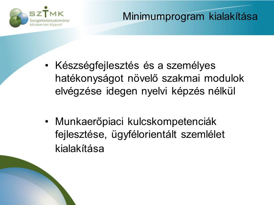 Minimumprogram kialakítása Készségfejlesztés és a személyes hatékonyságot növelő szakmai modulok elvégzése idegen nyelvi képzés nélkül Munkaerőpiaci kulcskompetenciák fejlesztése, ügyfélorientált szemlélet kialakítása