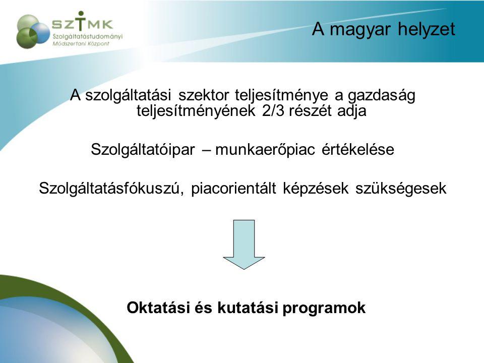 A magyar helyzet A szolgáltatási szektor teljesítménye a gazdaság teljesítményének 2/3 részét adja Szolgáltatóipar – munkaerőpiac értékelése Szolgáltatásfókuszú, piacorientált képzések szükségesek Oktatási és kutatási programok
