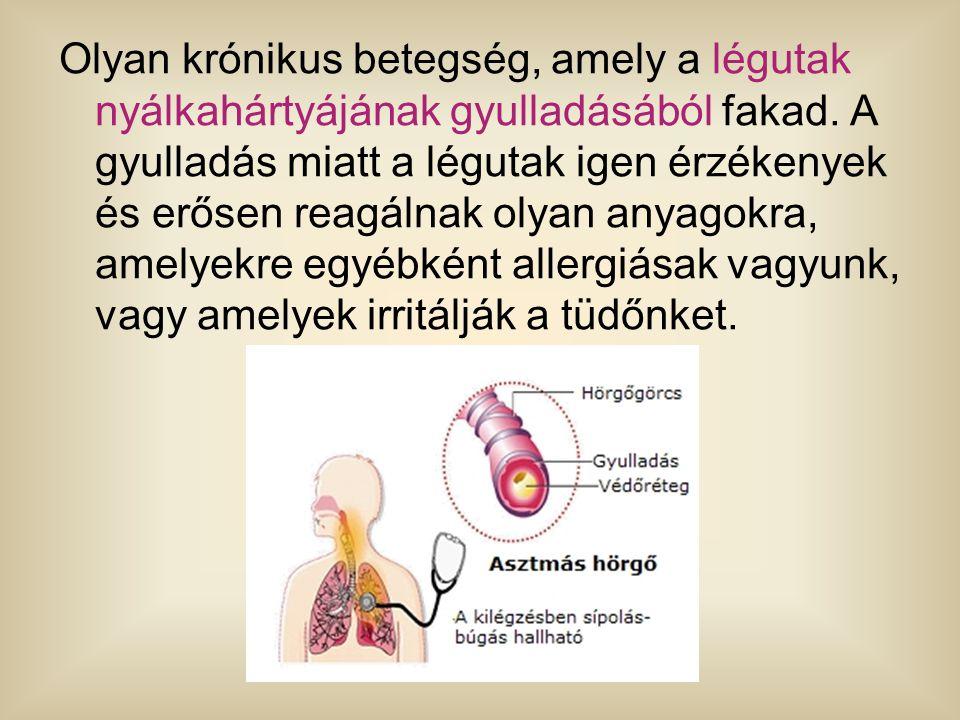 Olyan krónikus betegség, amely a légutak nyálkahártyájának gyulladásából fakad. A gyulladás miatt a légutak igen érzékenyek és erősen reagálnak olyan