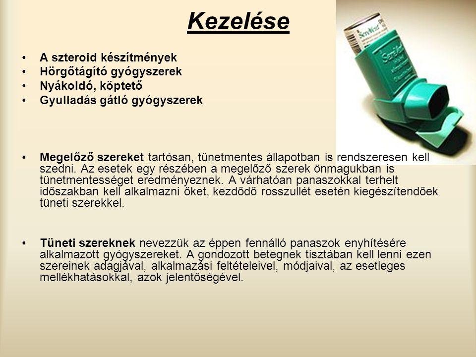 Kezelése A szteroid készítmények Hörgőtágító gyógyszerek Nyákoldó, köptető Gyulladás gátló gyógyszerek Megelőző szereket tartósan, tünetmentes állapot