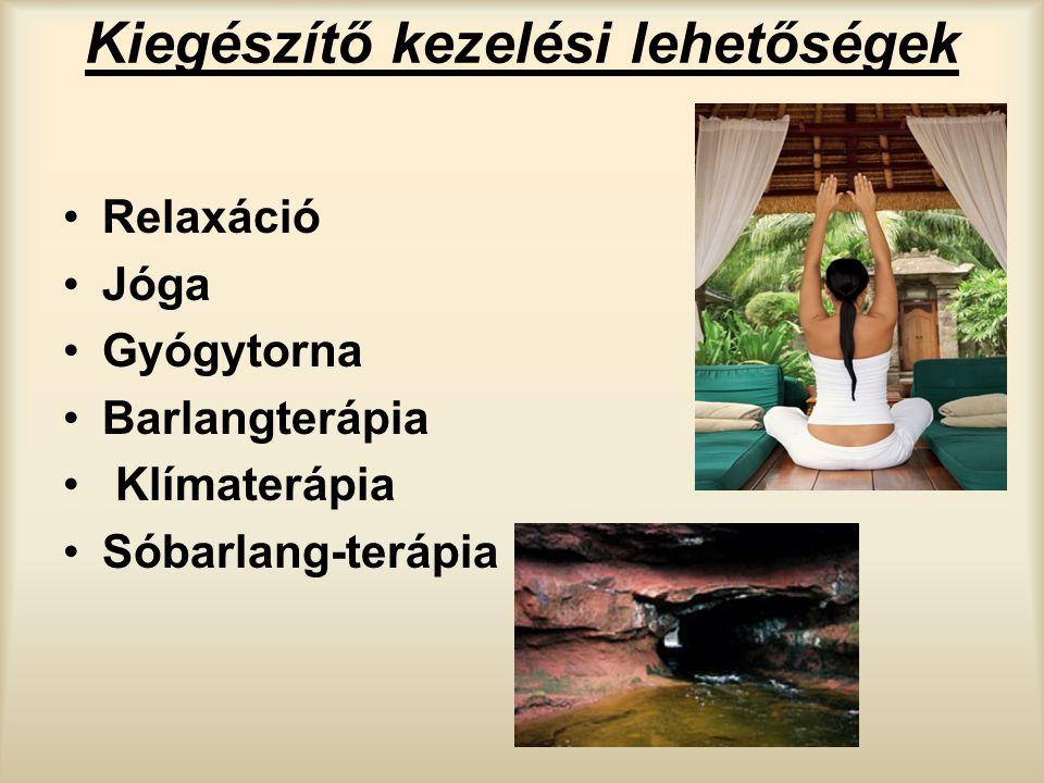 Kiegészítő kezelési lehetőségek Relaxáció Jóga Gyógytorna Barlangterápia Klímaterápia Sóbarlang-terápia