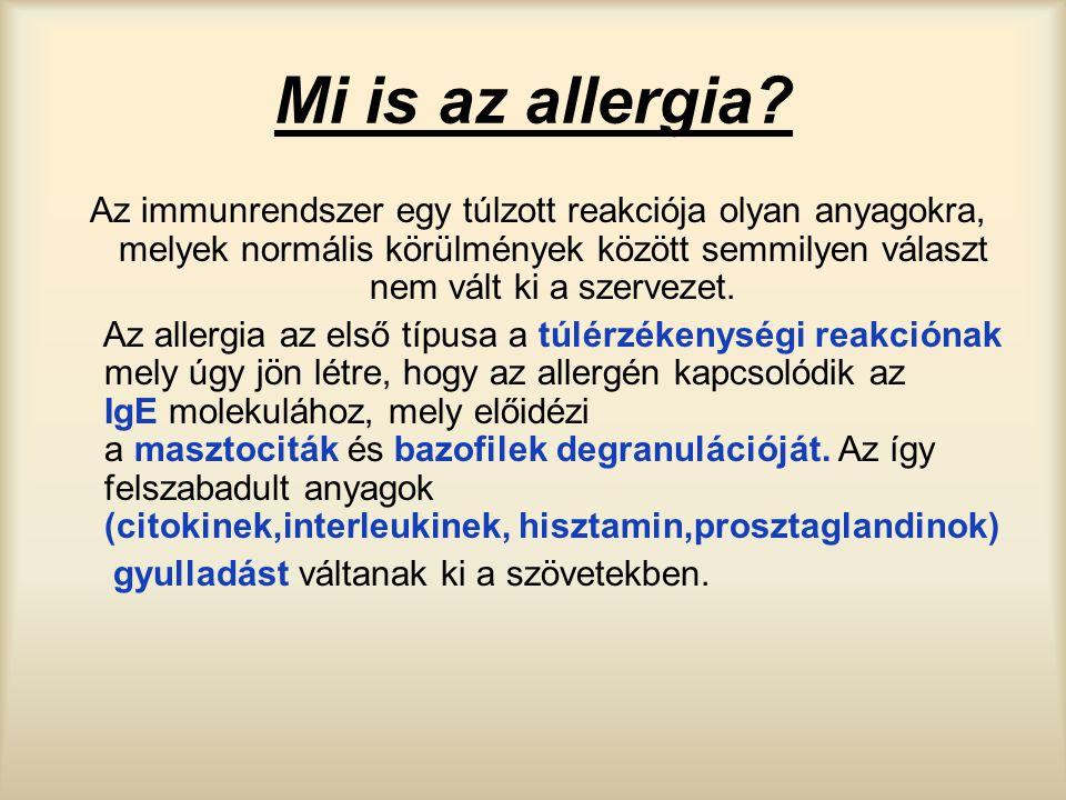 Mi is az allergia? Az immunrendszer egy túlzott reakciója olyan anyagokra, melyek normális körülmények között semmilyen választ nem vált ki a szerveze