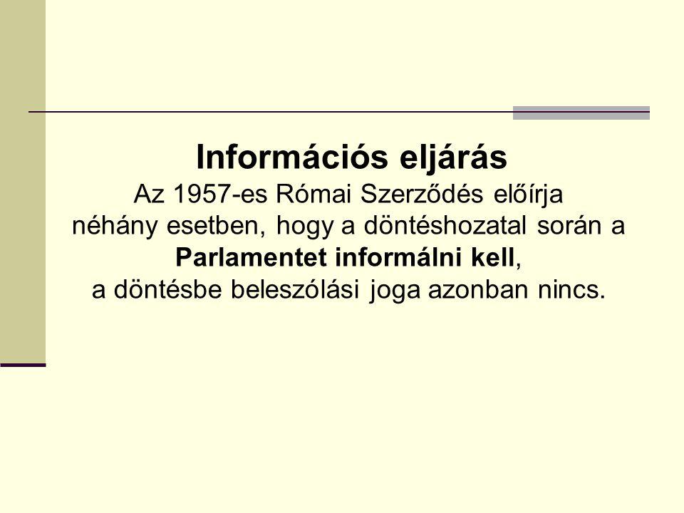 Információs eljárás Az 1957-es Római Szerződés előírja néhány esetben, hogy a döntéshozatal során a Parlamentet informálni kell, a döntésbe beleszólás