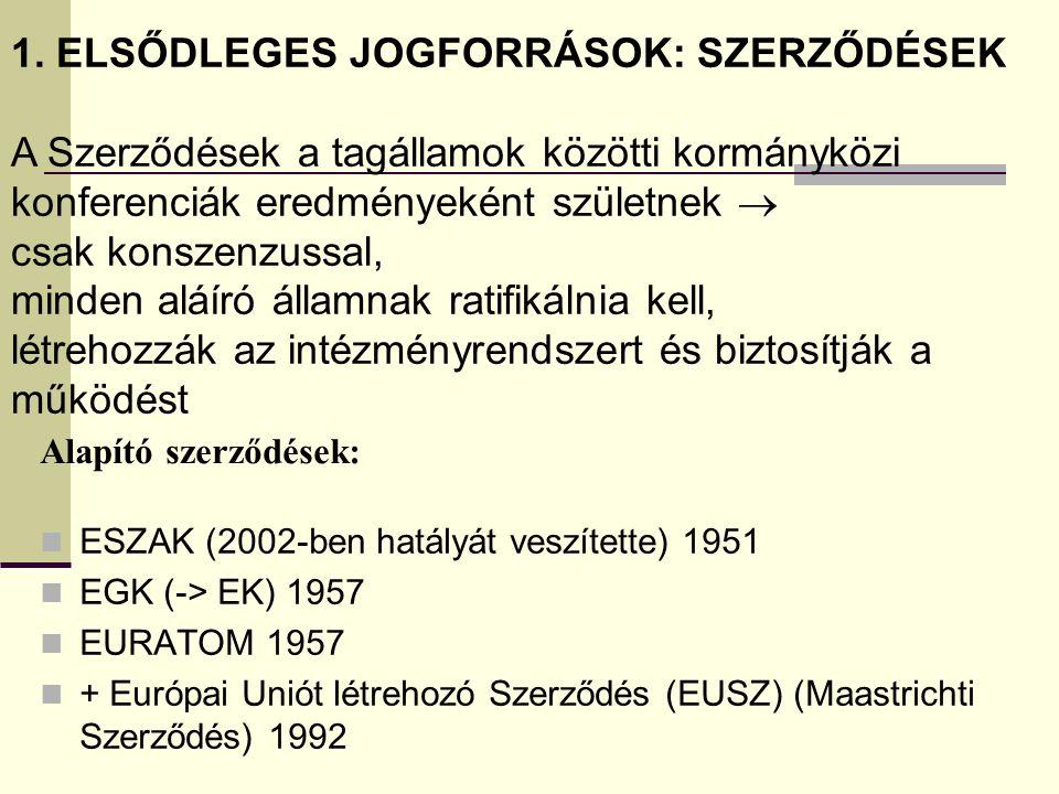 Alapító szerződések: ESZAK (2002-ben hatályát veszítette) 1951 EGK (-> EK) 1957 EURATOM 1957 + Európai Uniót létrehozó Szerződés (EUSZ) (Maastrichti S