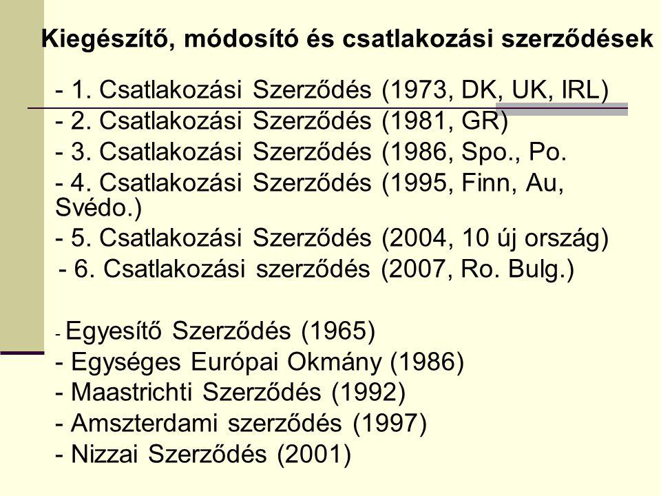 - 1. Csatlakozási Szerződés (1973, DK, UK, IRL) - 2. Csatlakozási Szerződés (1981, GR) - 3. Csatlakozási Szerződés (1986, Spo., Po. - 4. Csatlakozási