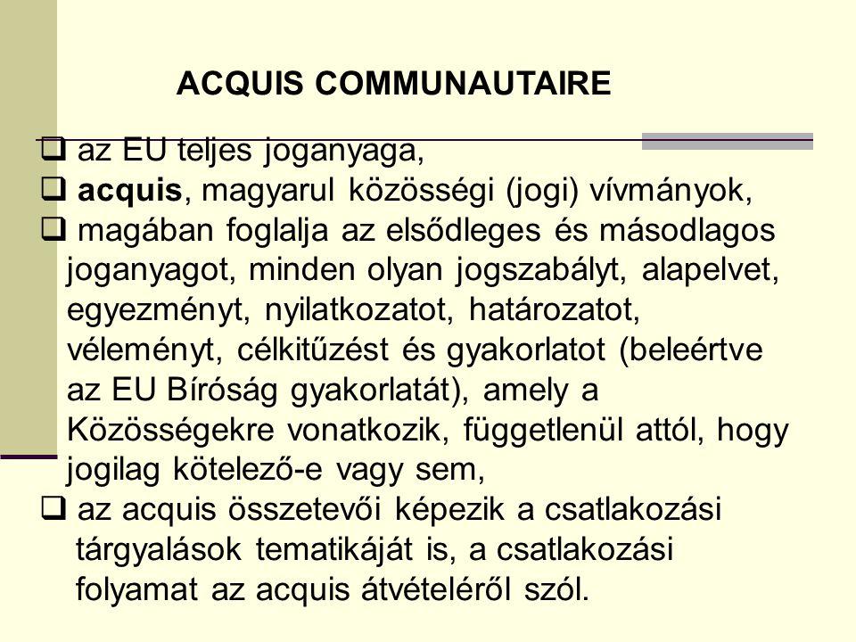 ACQUIS COMMUNAUTAIRE  az EU teljes joganyaga,  acquis, magyarul közösségi (jogi) vívmányok,  magában foglalja az elsődleges és másodlagos joganyago