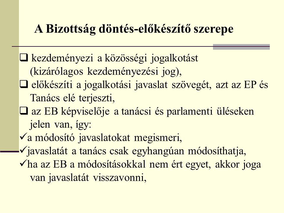 A Bizottság döntés-előkészítő szerepe  kezdeményezi a közösségi jogalkotást (kizárólagos kezdeményezési jog),  előkészíti a jogalkotási javaslat szö