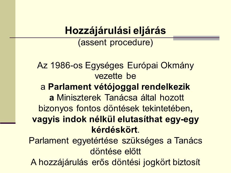 Hozzájárulási eljárás (assent procedure) Az 1986-os Egységes Európai Okmány vezette be a Parlament vétójoggal rendelkezik a Miniszterek Tanácsa által