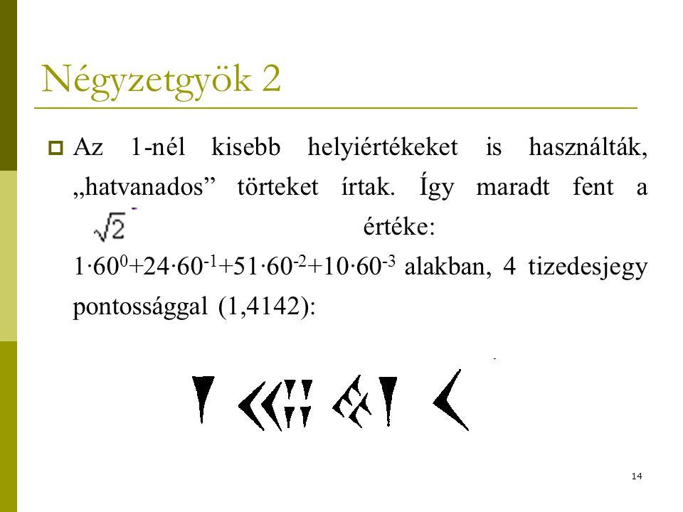 """14 Négyzetgyök 2  Az 1-nél kisebb helyiértékeket is használták, """"hatvanados"""" törteket írtak. Így maradt fent a értéke: 1·60 0 +24·60 -1 +51·60 -2 +10"""
