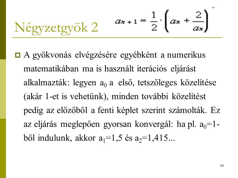 16 Négyzetgyök 2  A gyökvonás elvégzésére egyébként a numerikus matematikában ma is használt iterációs eljárást alkalmazták: legyen a 0 a első, tetsz