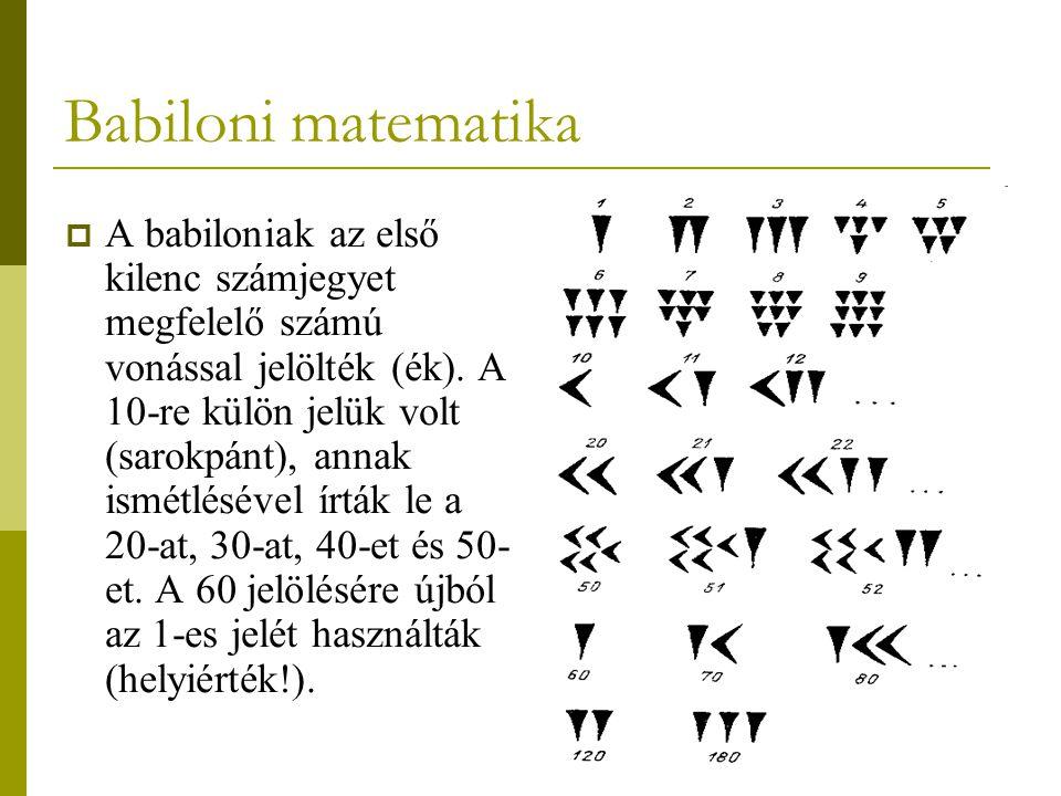 7  A babiloniak az első kilenc számjegyet megfelelő számú vonással jelölték (ék). A 10-re külön jelük volt (sarokpánt), annak ismétlésével írták le a