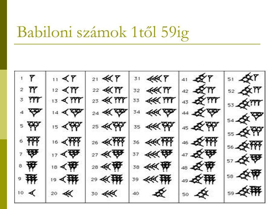 9 Babiloni számok 1től 59ig