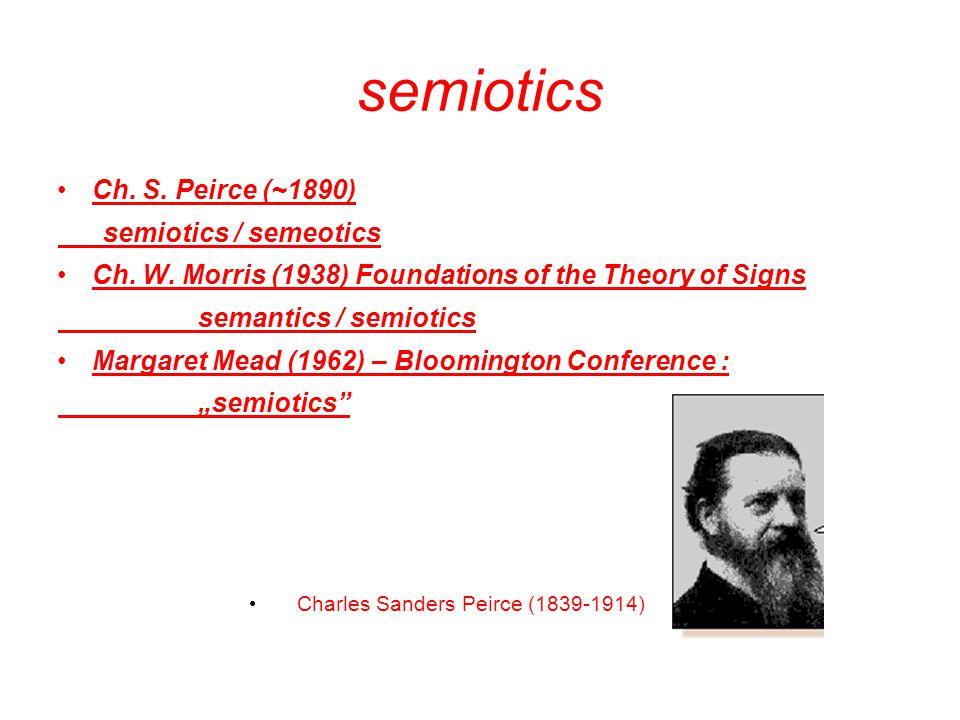 semiotics Ch.S. Peirce (~1890) semiotics / semeotics Ch.