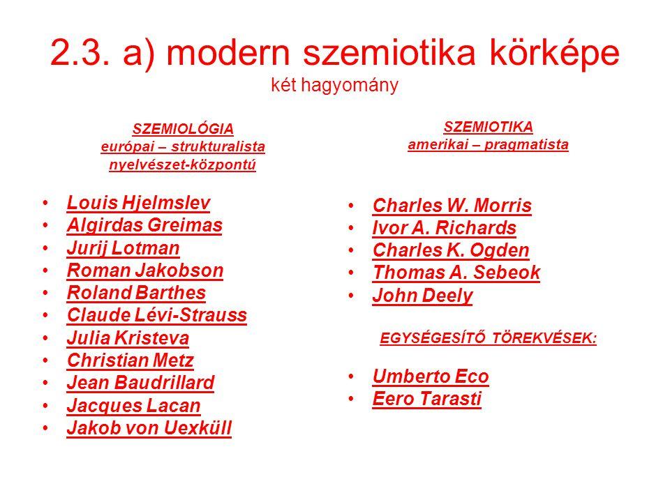 2.3. a) modern szemiotika körképe két hagyomány SZEMIOLÓGIA európai – strukturalista nyelvészet-központú Louis Hjelmslev Algirdas Greimas Jurij Lotman