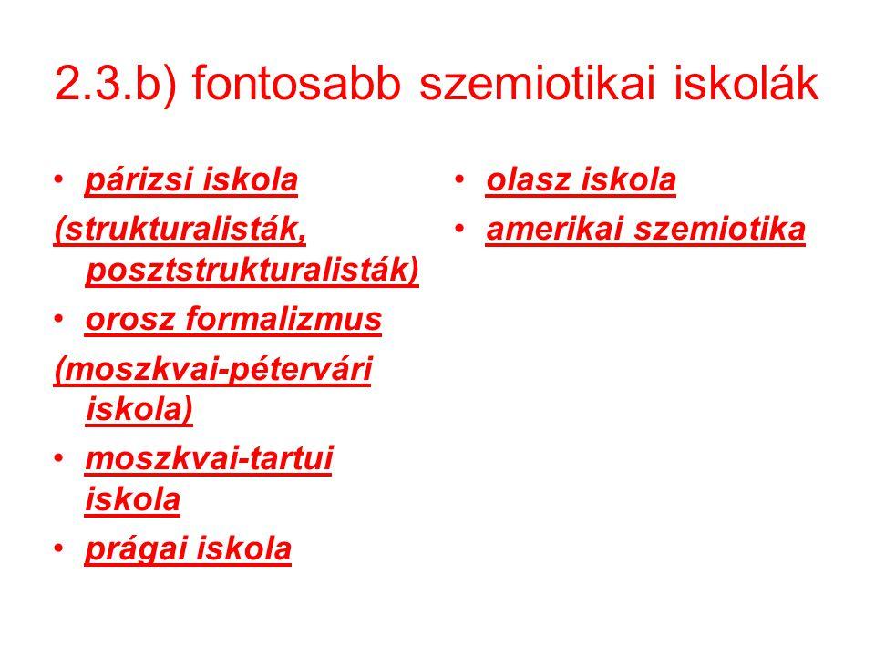 2.3.b) fontosabb szemiotikai iskolák párizsi iskola (strukturalisták, posztstrukturalisták) orosz formalizmus (moszkvai-pétervári iskola) moszkvai-tartui iskola prágai iskola olasz iskola amerikai szemiotika