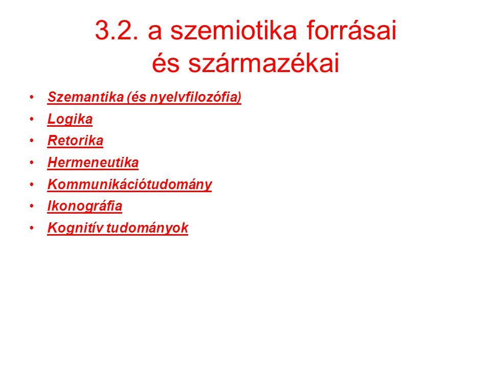 3.2. a szemiotika forrásai és származékai Szemantika (és nyelvfilozófia) Logika Retorika Hermeneutika Kommunikációtudomány Ikonográfia Kognitív tudomá