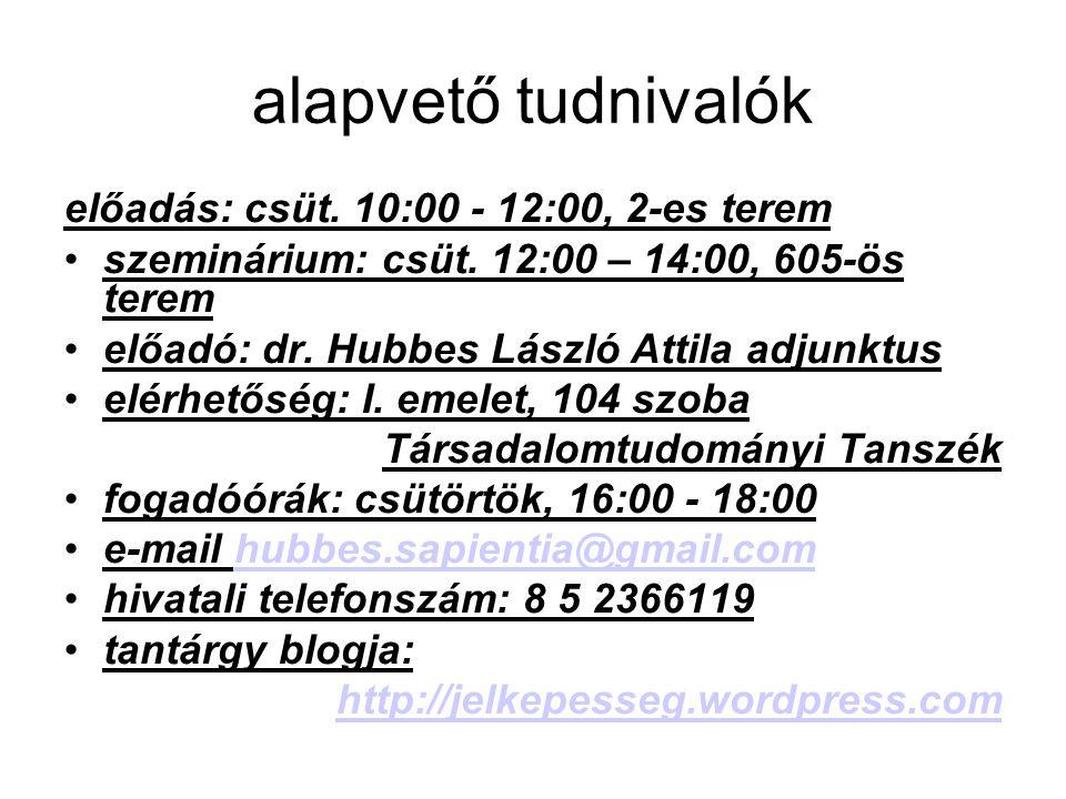 alapvető tudnivalók előadás: csüt.10:00 - 12:00, 2-es terem szeminárium: csüt.