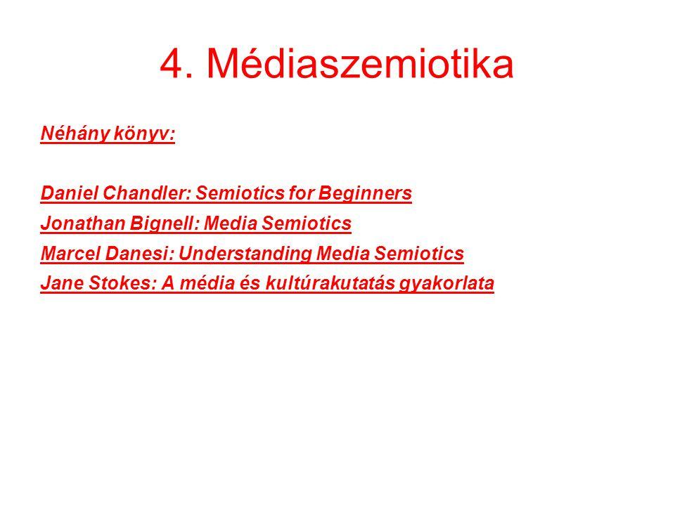 4. Médiaszemiotika Néhány könyv: Daniel Chandler: Semiotics for Beginners Jonathan Bignell: Media Semiotics Marcel Danesi: Understanding Media Semioti