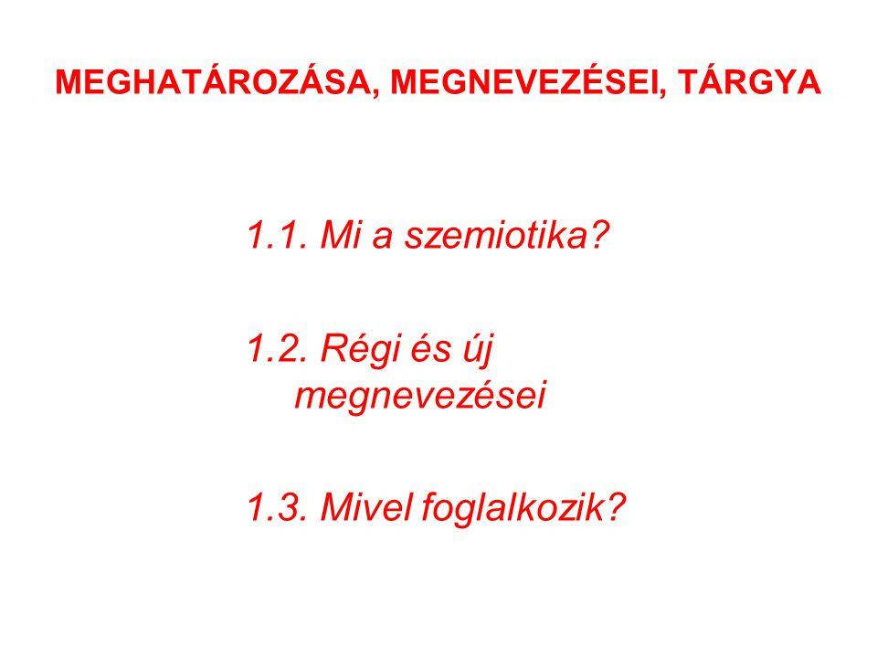 MEGHATÁROZÁSA, MEGNEVEZÉSEI, TÁRGYA 1.1.Mi a szemiotika.