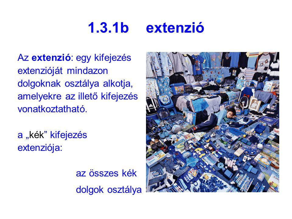 1.3.1b extenzió Az extenzió: egy kifejezés extenzióját mindazon dolgoknak osztálya alkotja, amelyekre az illető kifejezés vonatkoztatható.