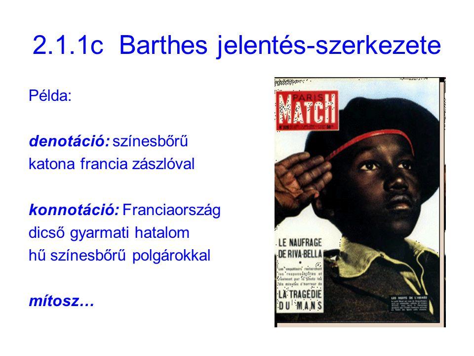 2.1.1c Barthes jelentés-szerkezete Példa: denotáció: színesbőrű katona francia zászlóval konnotáció: Franciaország dicső gyarmati hatalom hű színesbőrű polgárokkal mítosz…