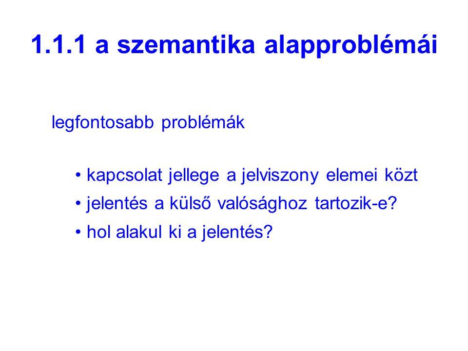 1.1.1 a szemantika alapproblémái legfontosabb problémák kapcsolat jellege a jelviszony elemei közt jelentés a külső valósághoz tartozik-e.