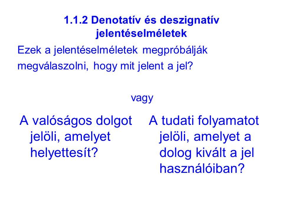 1.3.2a a jelentés megértése Ahhoz, hogy egy adott nyelven megértsünk egy szót, tudnunk kell, mi az intenziója, de ugyanakkor elegendő tapasztalati ismerettel kell rendelkeznünk a jelölt objektummal kapcsolatosan, hogy lássuk: teljesíti-e az általános feltételt (extenzió) ahhoz, hogy az illető szóval jelölhessük.