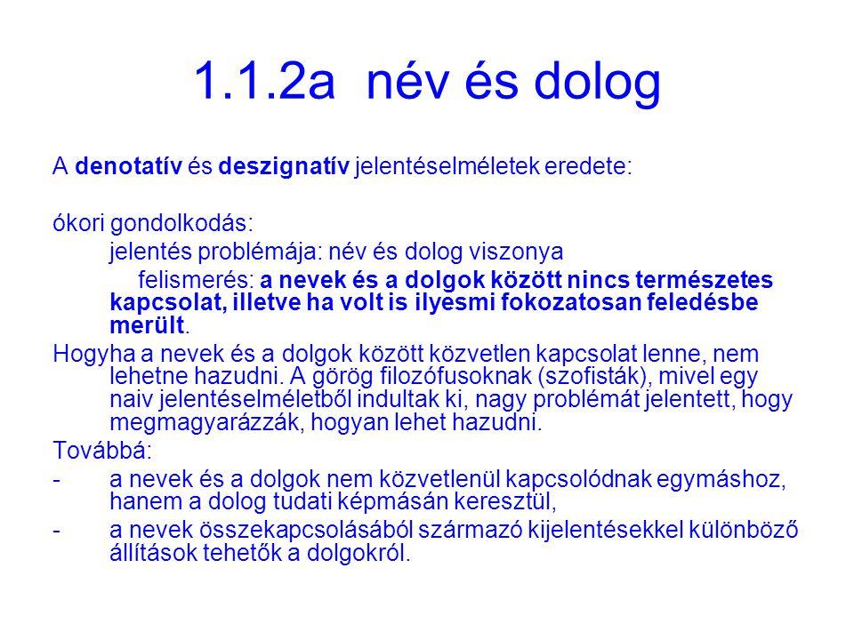 1.1.2b két jelentéselmélet A denotatív jelentés a jel jelentését a jelölt dologgal azonosítja.
