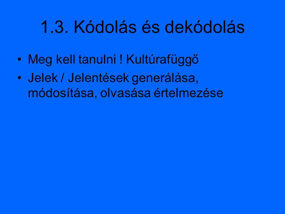 1.3. Kódolás és dekódolás Meg kell tanulni ! Kultúrafüggő Jelek / Jelentések generálása, módosítása, olvasása értelmezése