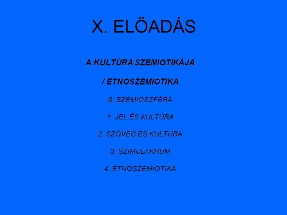 X. ELŐADÁS A KULTÚRA SZEMIOTIKÁJA / ETNOSZEMIOTIKA 0. SZEMIOSZFÉRA 1. JEL ÉS KULTÚRA 2. SZÖVEG ÉS KULTÚRA 3. SZIMULAKRUM 4. ETNOSZEMIOTIKA