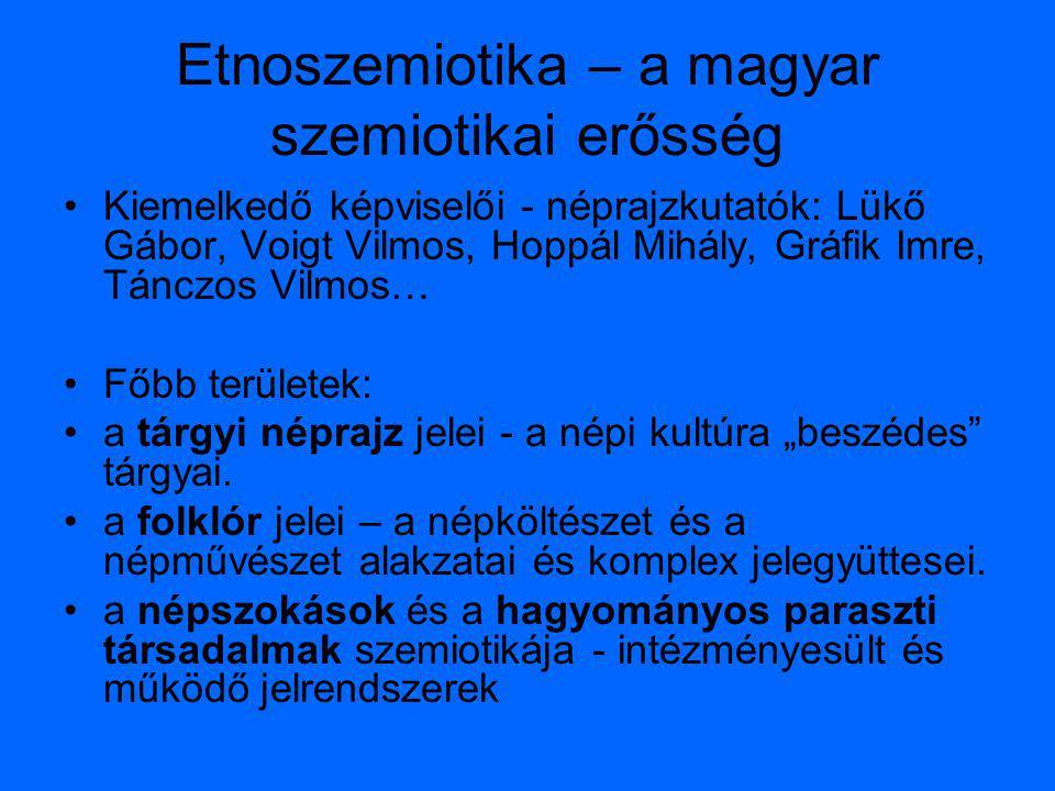 Etnoszemiotika – a magyar szemiotikai erősség Kiemelkedő képviselői - néprajzkutatók: Lükő Gábor, Voigt Vilmos, Hoppál Mihály, Gráfik Imre, Tánczos Vi