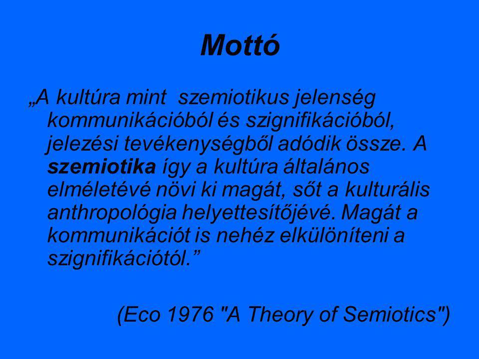 """Mottó """"A kultúra mint szemiotikus jelenség kommunikációból és szignifikációból, jelezési tevékenységből adódik össze. A szemiotika így a kultúra által"""