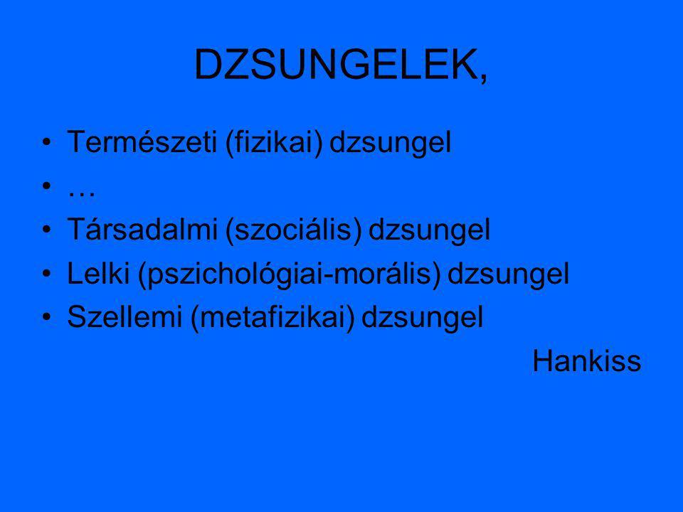 DZSUNGELEK, Természeti (fizikai) dzsungel … Társadalmi (szociális) dzsungel Lelki (pszichológiai-morális) dzsungel Szellemi (metafizikai) dzsungel Han